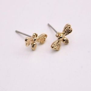 New Solid 18K Gold Plated Cute Bee Stud Earrings